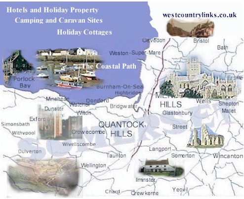 Map Of Somerset Tourist Information Holiday Parks Cottage